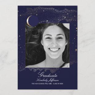 Crescent Moon and Starry Night Photo Graduation Invitation