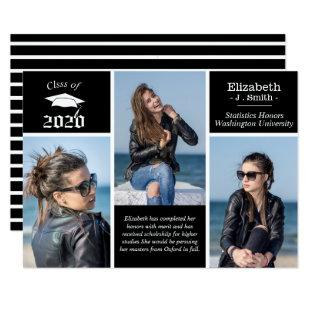 Custom 3 Photo 2020 Graduation Announcement Card