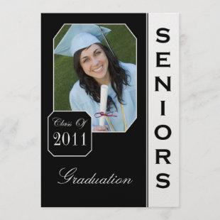 Custom Black Photo Graduation Announcements