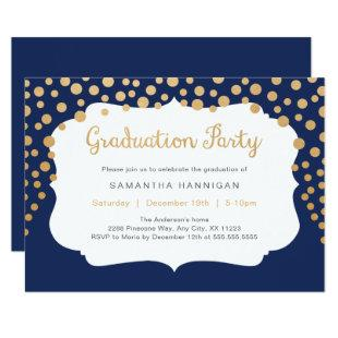 Custom color gold confetti graduation party invitation
