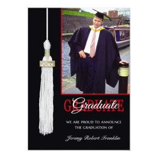 Custom Graduation Party Invite Red & Black Tassel