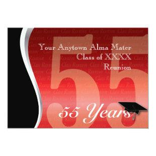 Customizable 55 Year Class Reunion Invitation