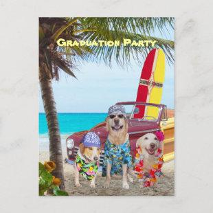 Customizable Funny Dogs/Lab Postcard Beach Party