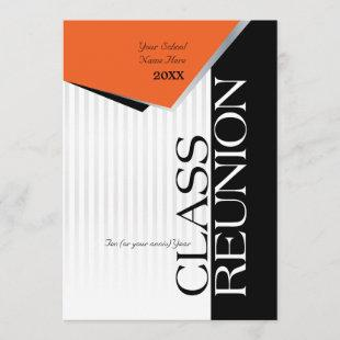 Customizable Orange and Black Class Reunion Invitation