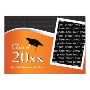 Customizable Orange & Black Graduation Invitation