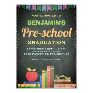 Cute Chalkboard Preschool Graduation Invitation