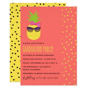 Cute exotic tropical beach Female Graduation Party Invitation