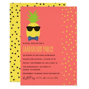 Cute exotic tropical beach Male Graduation Party Invitation