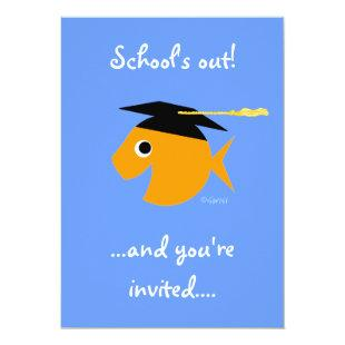Cute Graduation Party Invitation Goldfish on Blue