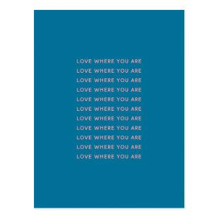Cute Inspirational Uplifting Words Typography Blue Postcard