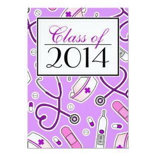 Cute Nursing School RN Purple Graduation Invite