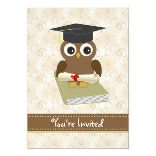 Cute owl, mortar, diploma Graduation Party Invite