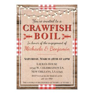 Cute Picnic Crawfish Boil Lobster Party Engagement Invitation