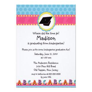 CUTE Pink Girls Kindergarten Graduation Invitation