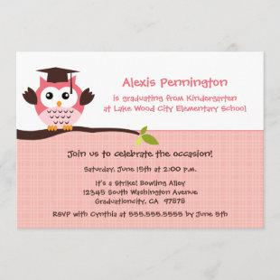 Cute pink owl elementary girl's graduation party