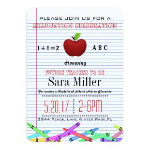 Cute Red Apple Teacher Graduation Invitation