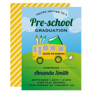 Cute School Bus Preschool Graduation Invitation