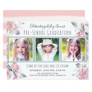 Cute Three-Photo Pre-School Graduation for Girl Invitation