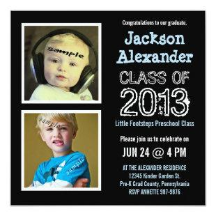 Cute Two Photo Preschool Kindergarten Grad Party Invitation