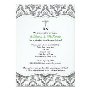 Damask Black green Nurse graduation RN BSN LPN Invitation