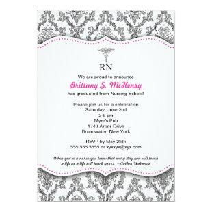 Damask Black hot pink Nurse graduation RN BSN LPN Invitation