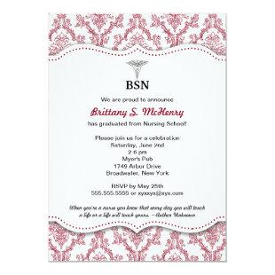 Damask Burgundy Nurse pinning graduation BSN RN Invitation