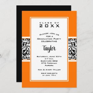 Damask Orange Black Graduation Party Invitations