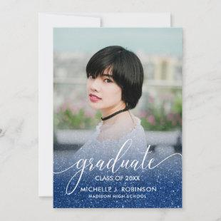 Dark Blue Glitter Ombre Girly Photo Graduation Announcement
