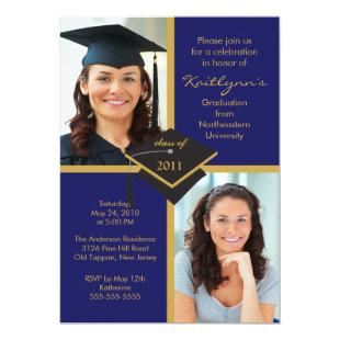 DARK Blue & Gold Photo Graduation Invitation