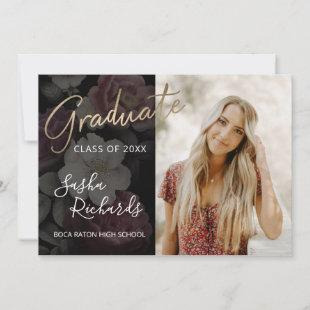 Dark Florals Graduation Announcement