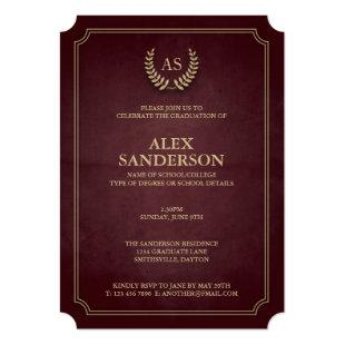 Dark Maroon+Gold Monogram/Laurel Wreath Graduation Invitation