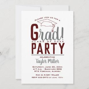 Dark Maroon, White & Gray Graduation Party Invites