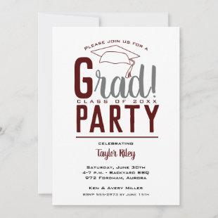 Dark Maroon White Gray Graduation Party Invites