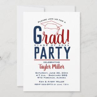 Dark Red and Blue Graduation Party Invitations