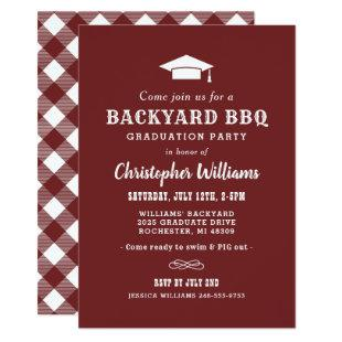 Dark Red Backyard BBQ Graduation Party Invitation