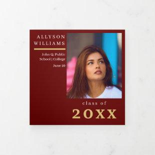 Dark Red Elegant Classy 8 Photo Graduation Tri-Fold Announcement
