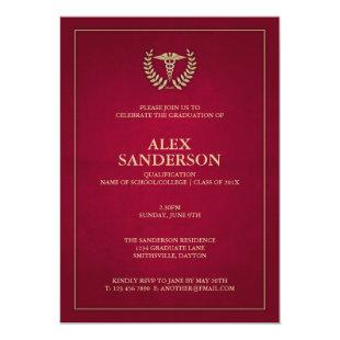 Dark Red+Gold Caduceus Doctor Graduation Party Invitation