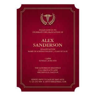 Dark Red+Gold Medical Caduceus Graduation Party Invitation