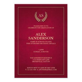 Dark Red + Gold Monogram/Laurel Wreath Graduation Invitation