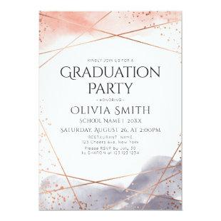 Dawn Watercolor Geometric Graduation Party Invitation