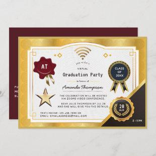 Deep Burgundy and Gold Virtual Graduation Party Invitation