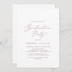 Delicate Rose Gold Calligraphy Graduation Party Invitation