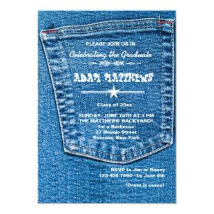 Denim Pocket Graduation Invitation