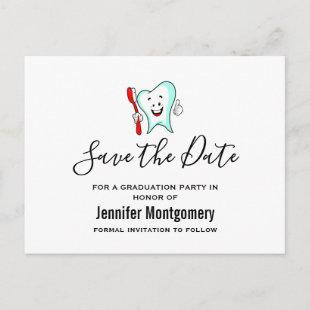 Dental Care Happy Tooth Graduation Save the Date Invitation Postcard