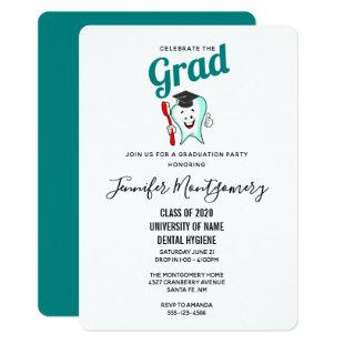 Dental Care Happy Tooth with Graduation Cap Invitation