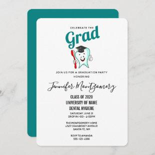 Dental Care Happy Tooth with Graduation Cap