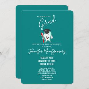 Dental Care Happy Tooth with Toothbrush Graduation Invitation