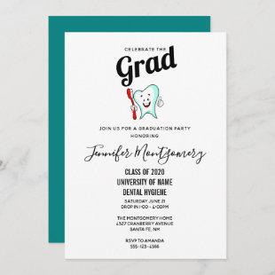 Dental Care Happy Tooth with Toothbrush Graduation