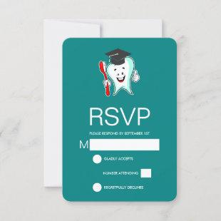 Dental Care Happy Tooth with Toothbrush Graduation RSVP Card