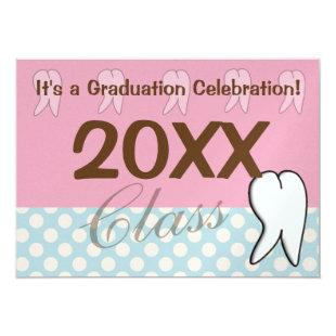 Dental Graduation Inviations Pink and Blue Invitation